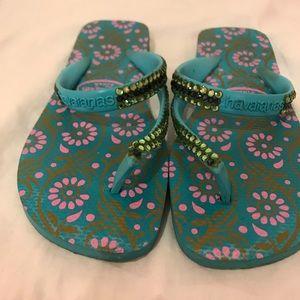 Blue and Green Swarovski Covered Havainas Sandals